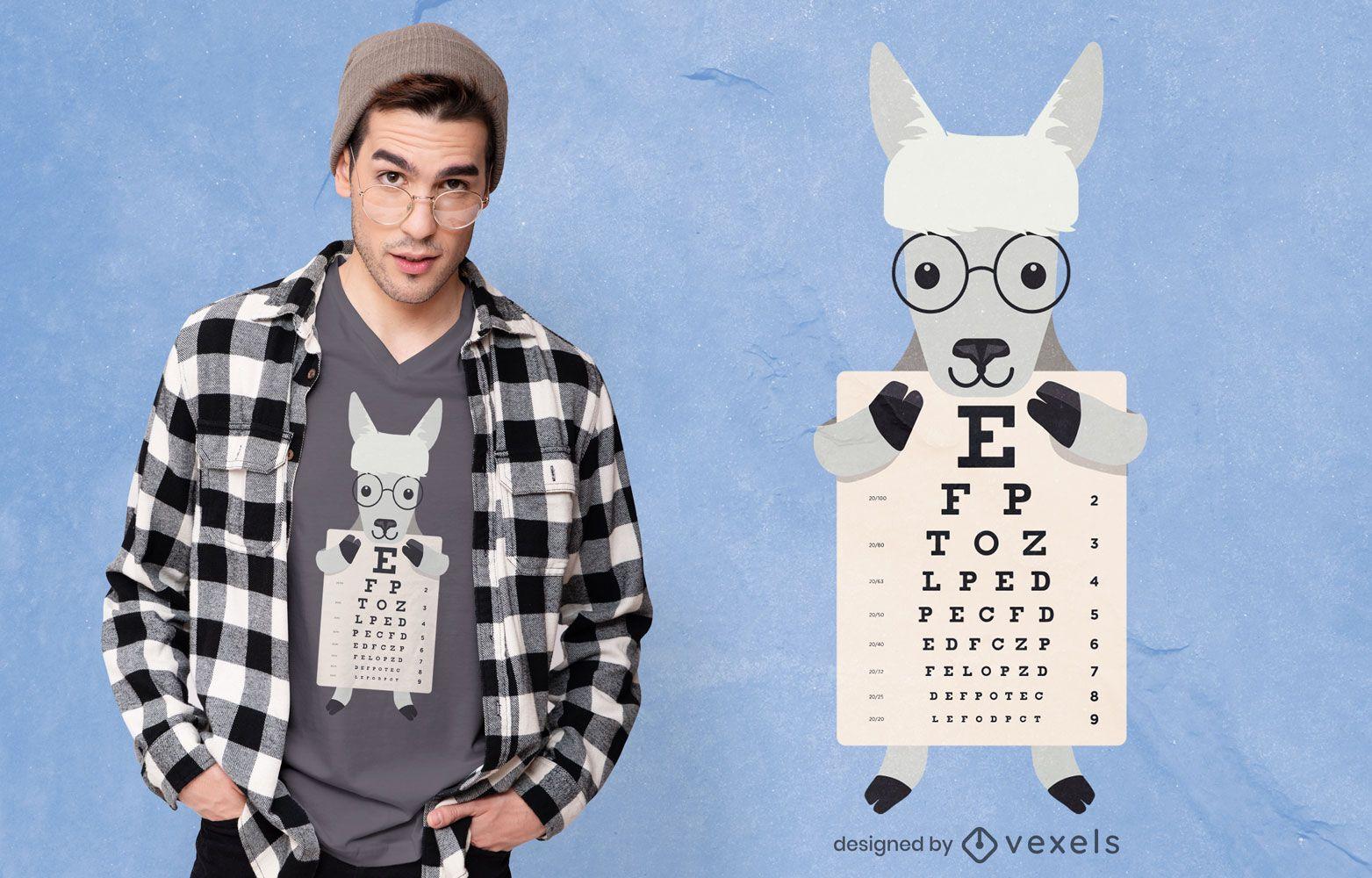 Llama holding eye chart t-shirt design