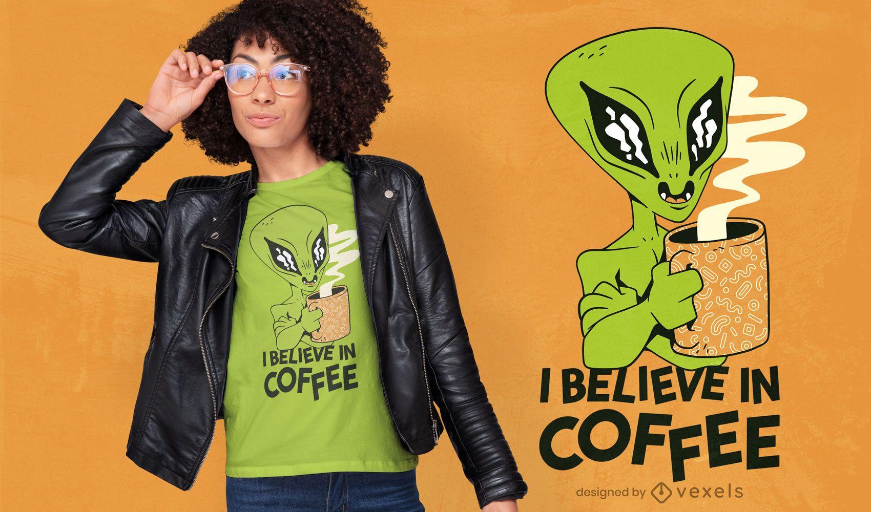 Alien with coffee mug cartoon t-shirt design