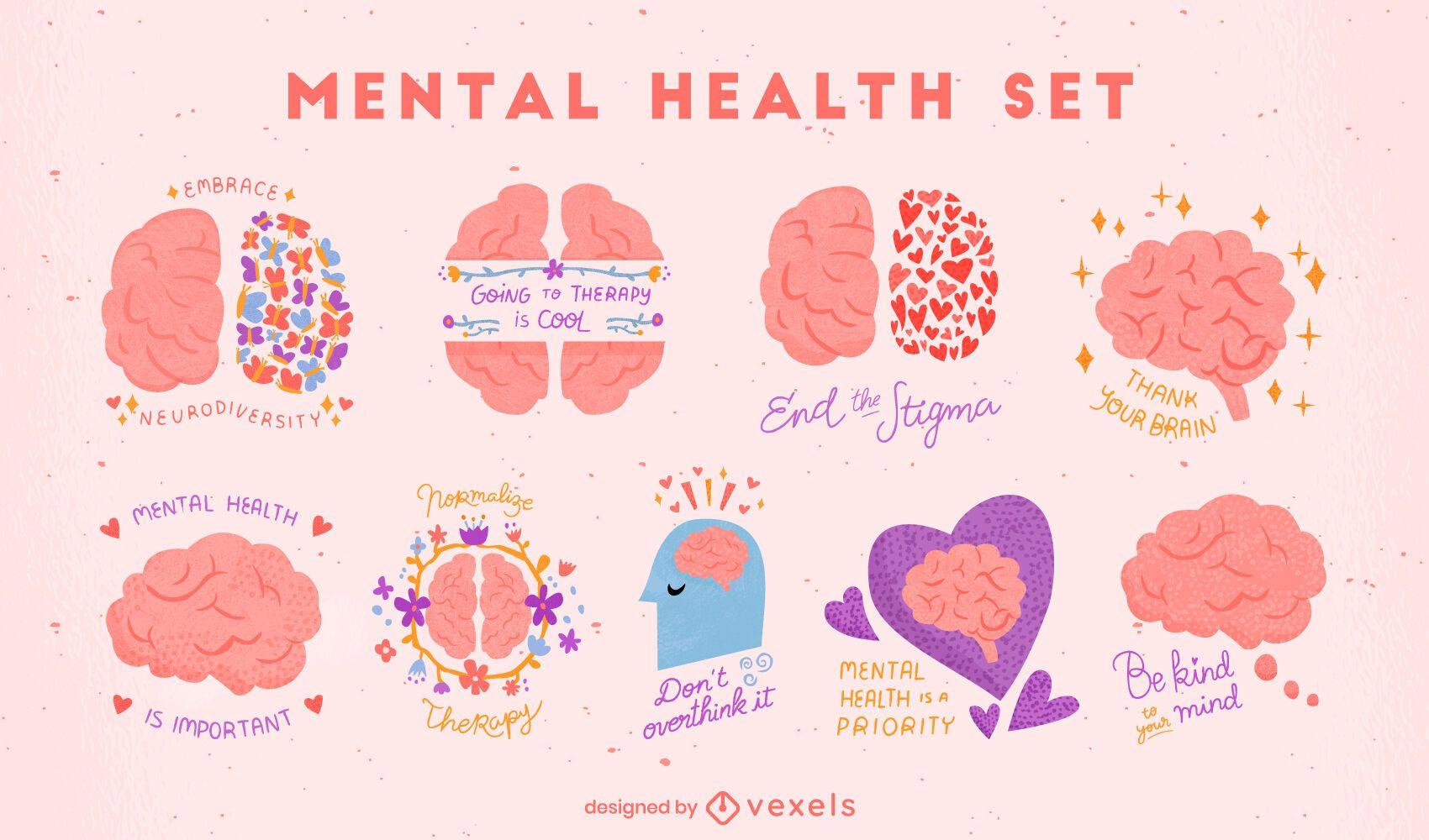 Conjunto de cérebros de conscientização sobre saúde mental