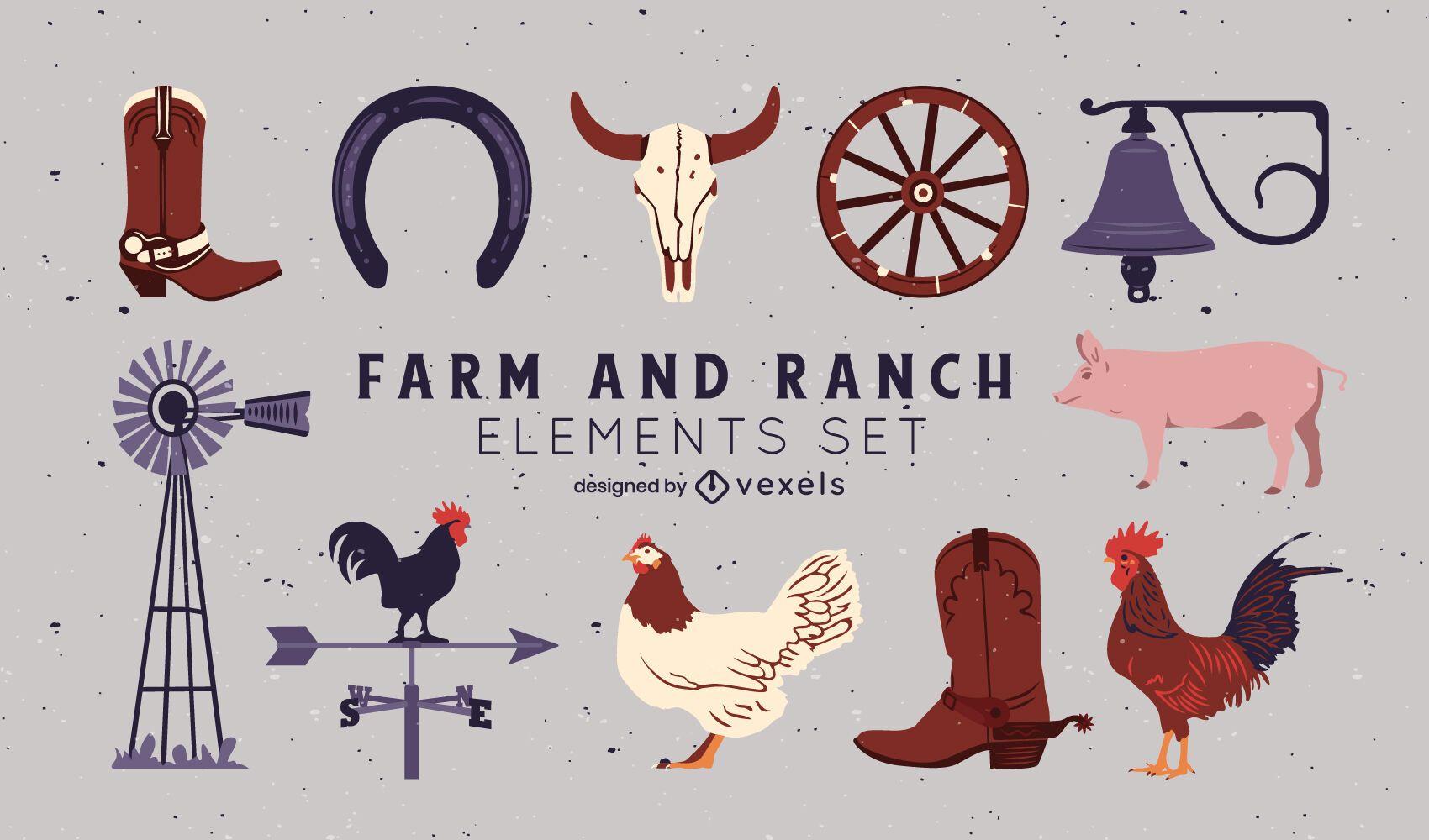 Conjunto de elementos de fazenda e rancho semi-plana