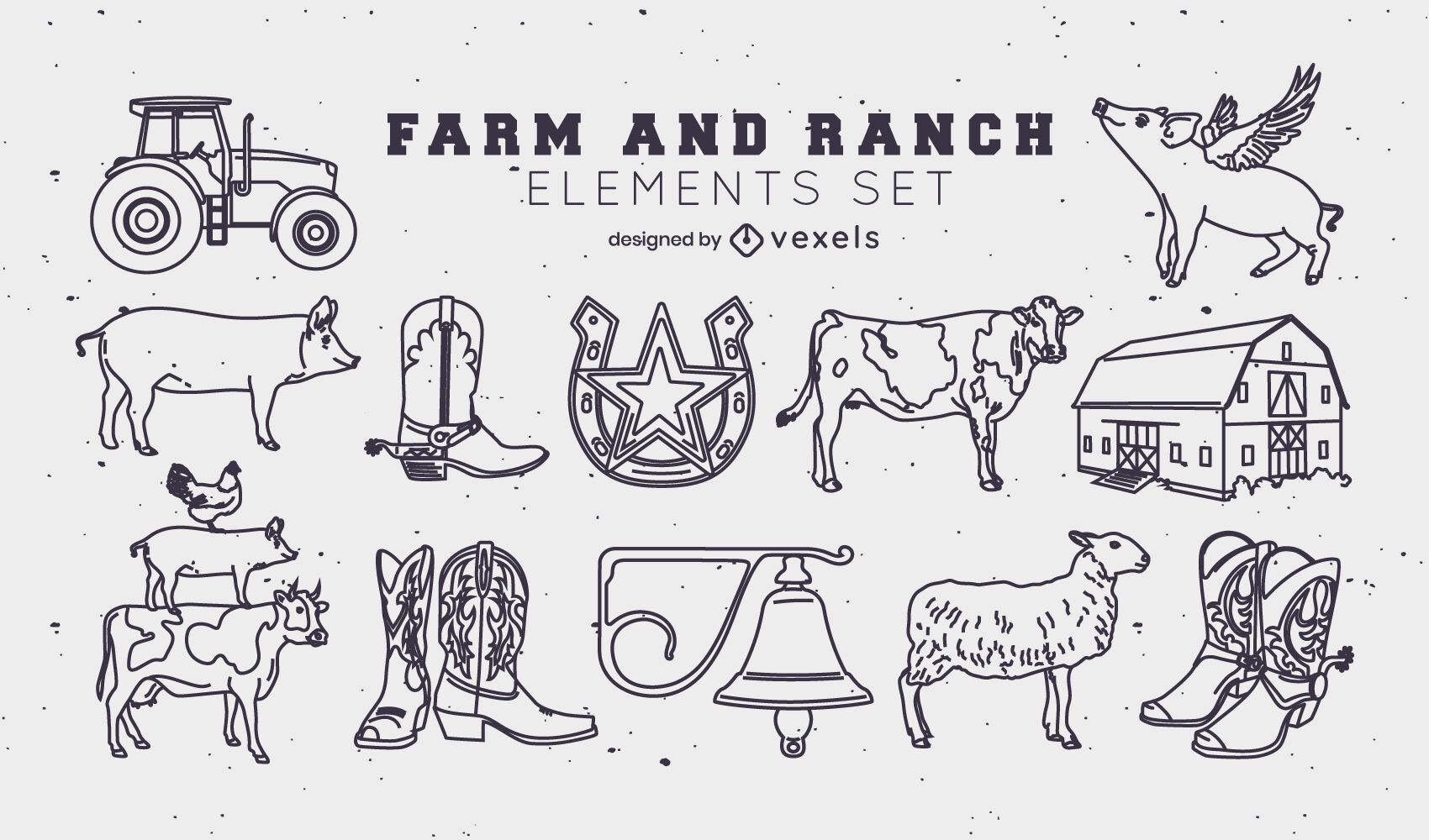 Conjunto de elementos de trazo de rancho y granja.