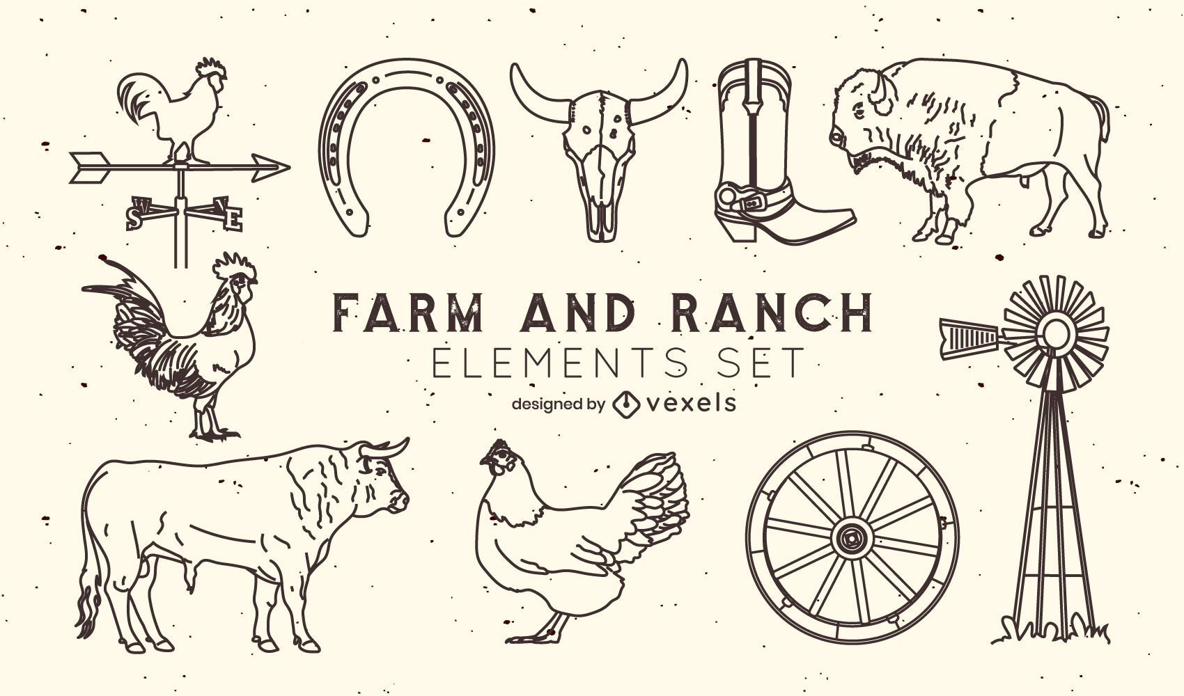 Conjunto de elementos de traçado de fazenda e rancho