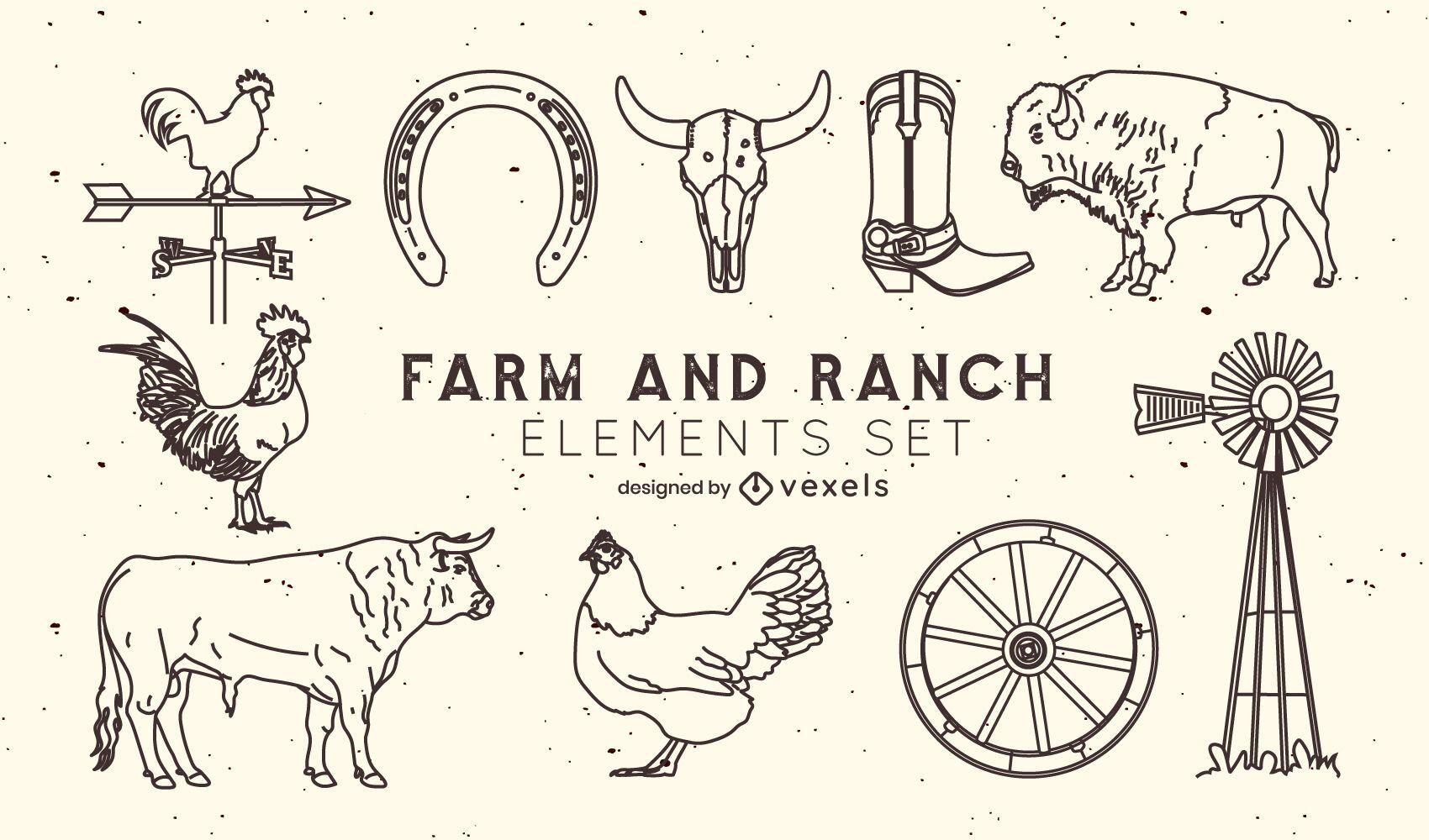 Conjunto de elementos de trazo de granja y rancho.