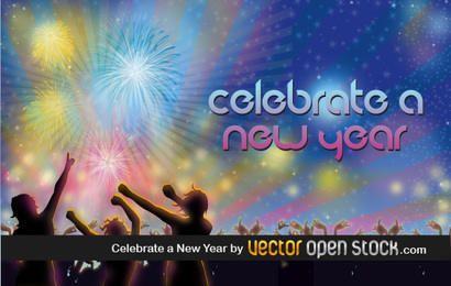 Celebrar un año nuevo ilustración