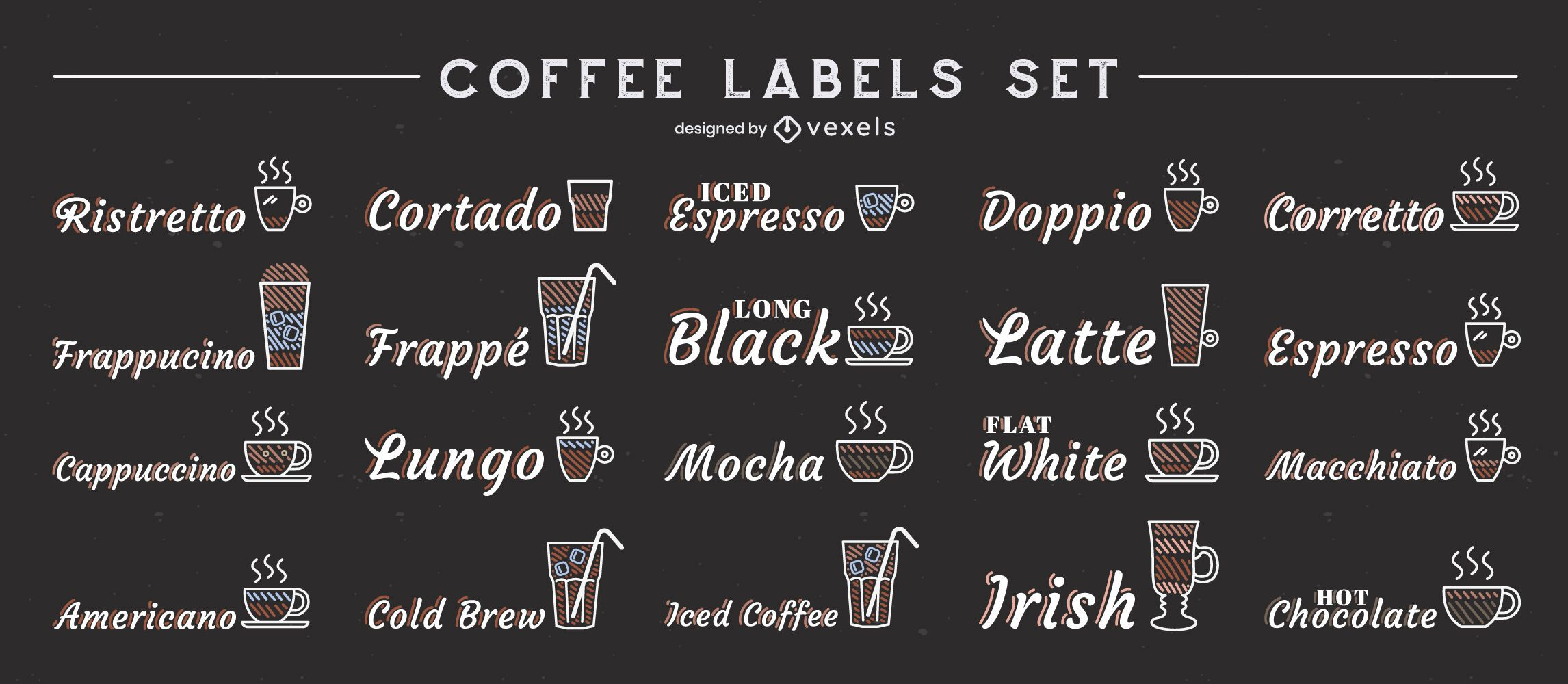 Coffee drinks set of labels