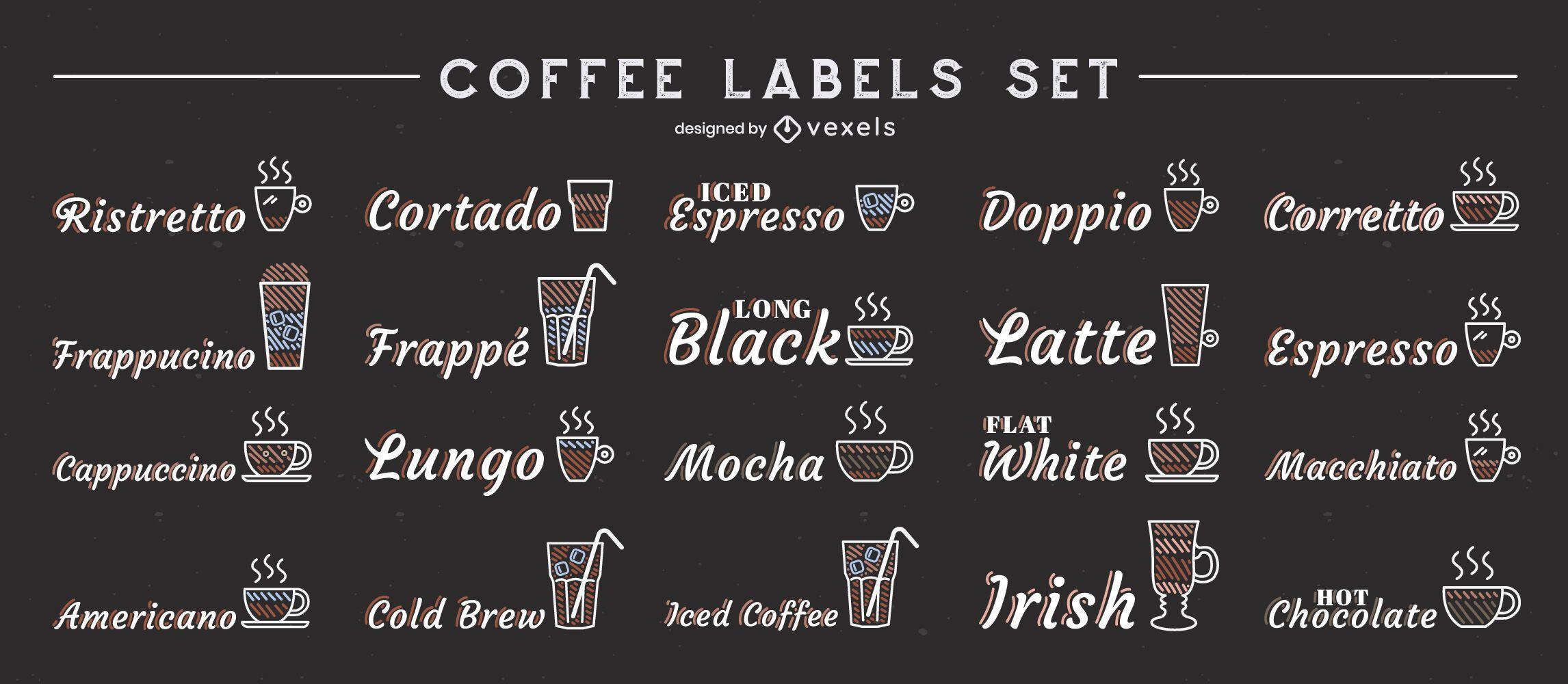 Conjunto de rótulos de bebidas com café