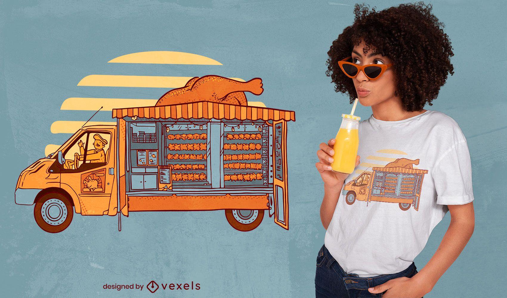 Chicken food truck t-shirt design