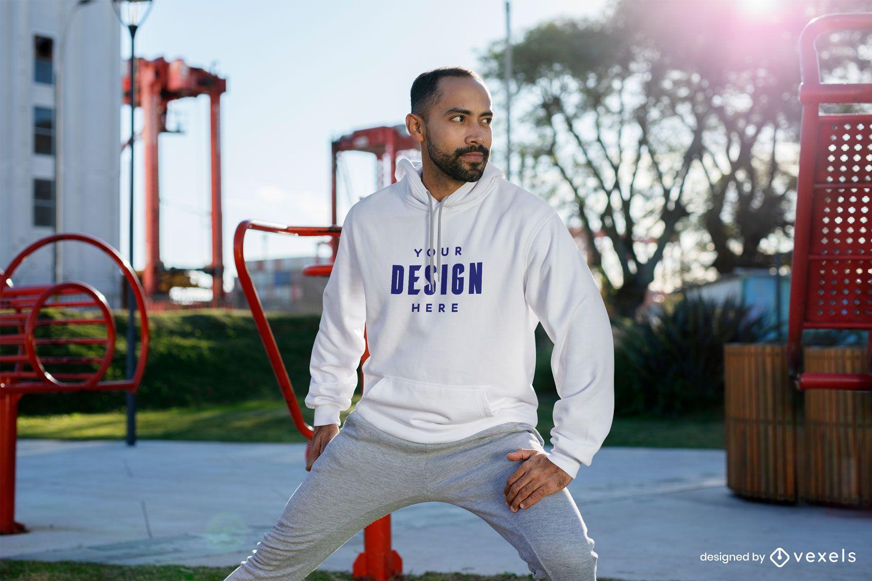 Fitness model hoodie mockup