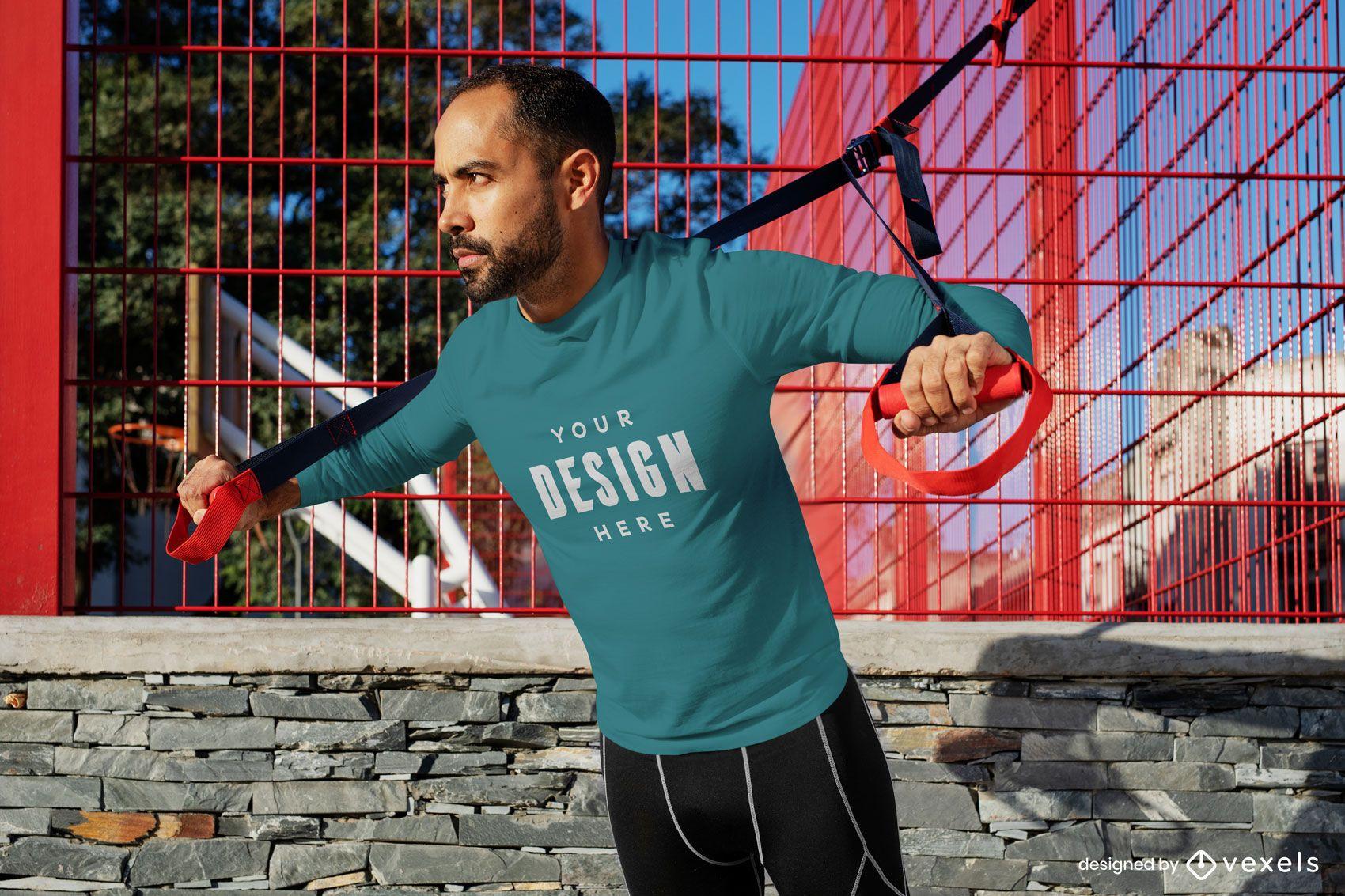 Workout model t-shirt mockup
