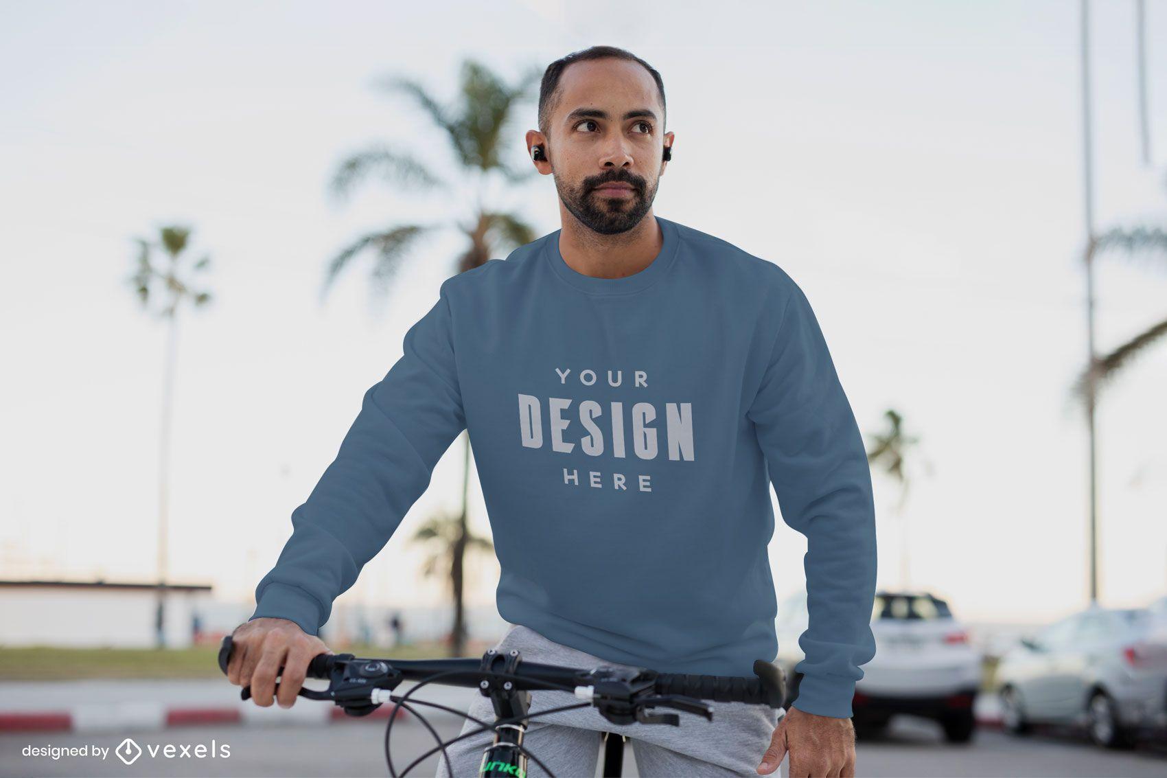 Cycling model sweatshirt mockup