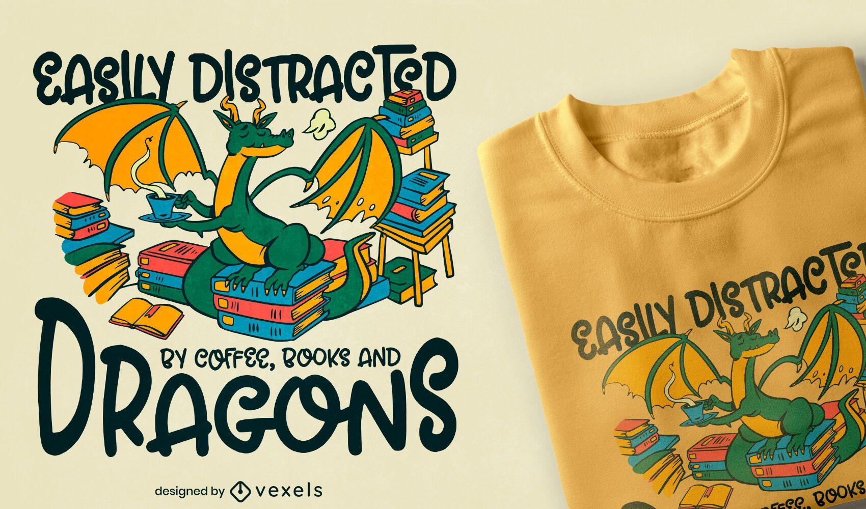 Diseño de camiseta de café y libros de dragones.