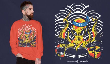 Diseño de camiseta de baterista pulpo.