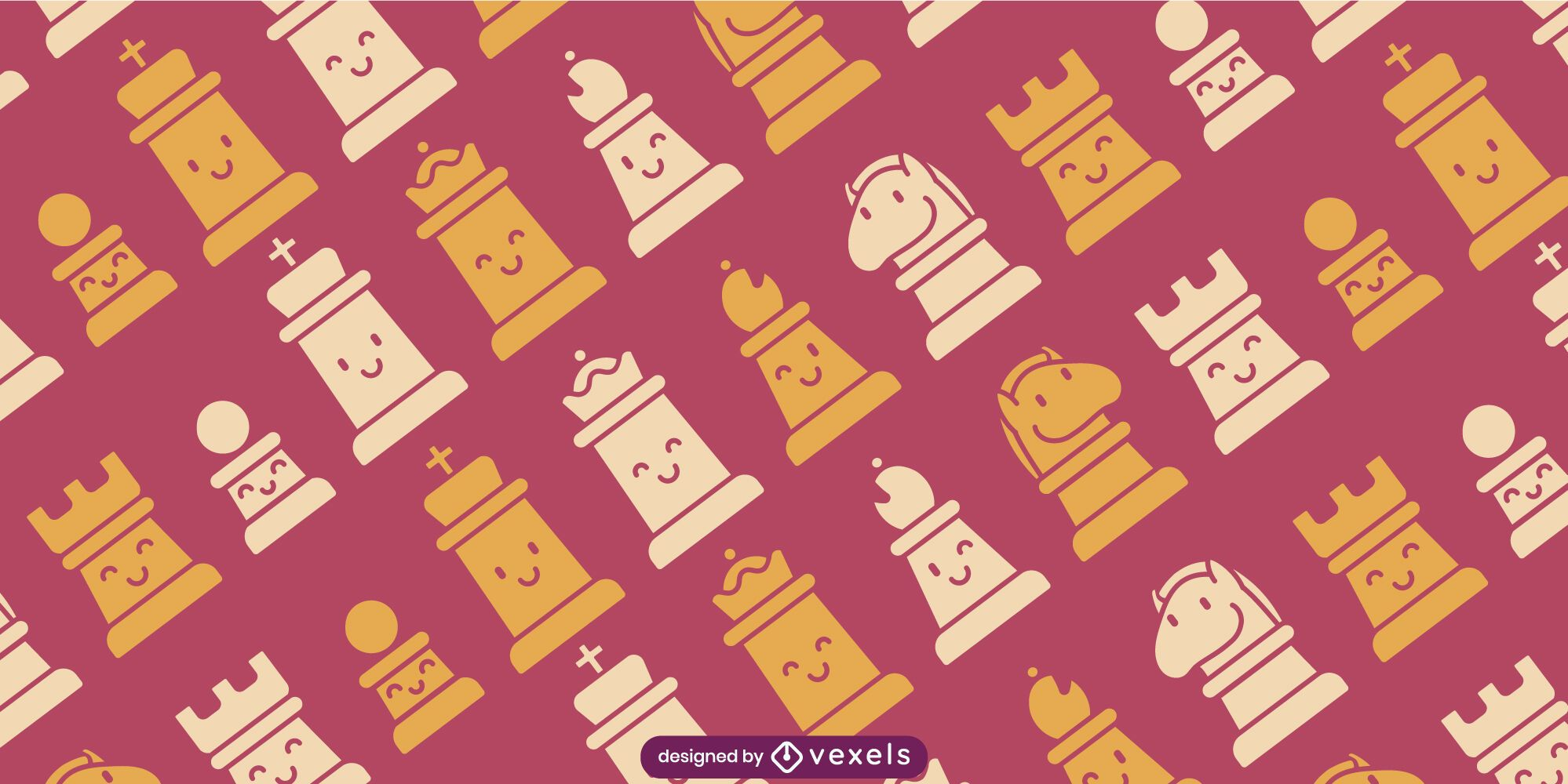 Cute chess pieces cut out pattern