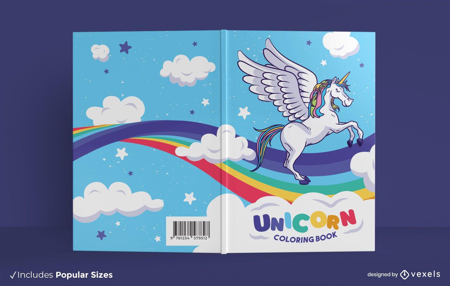 Lindo diseño de portada de libro para colorear de unicornio