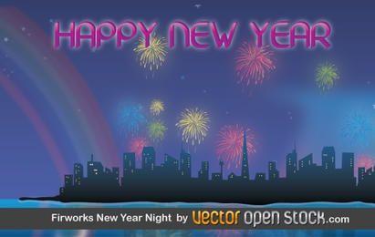 Noche de Año Nuevo de fuegos artificiales
