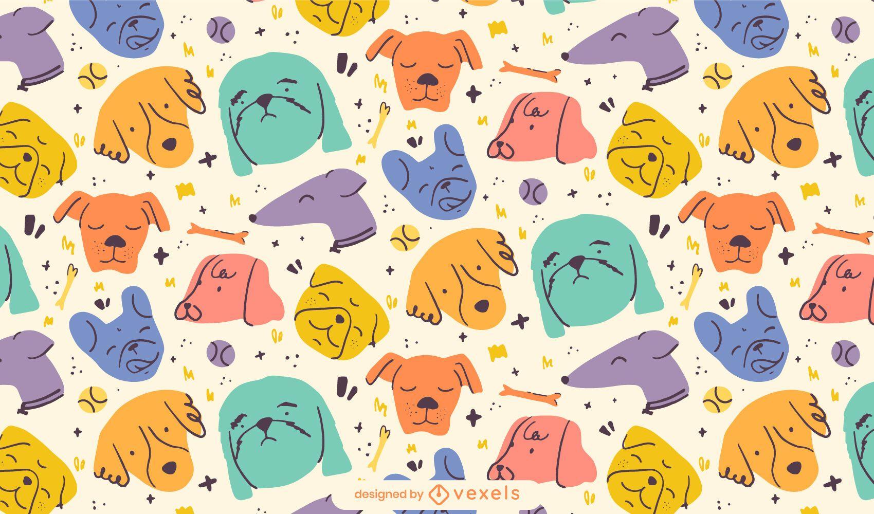 Dog animal heads doodle pattern design