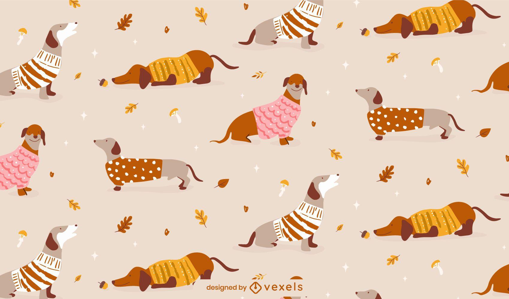 Dachshund dog autumn animal pattern design