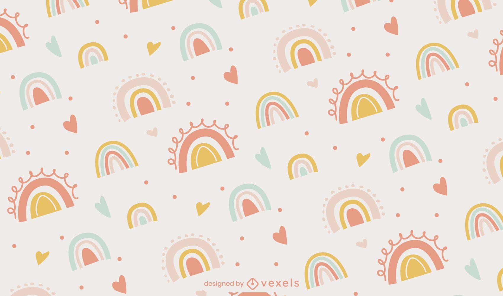 Diseño lindo del patrón del bebé del doodle del arco iris