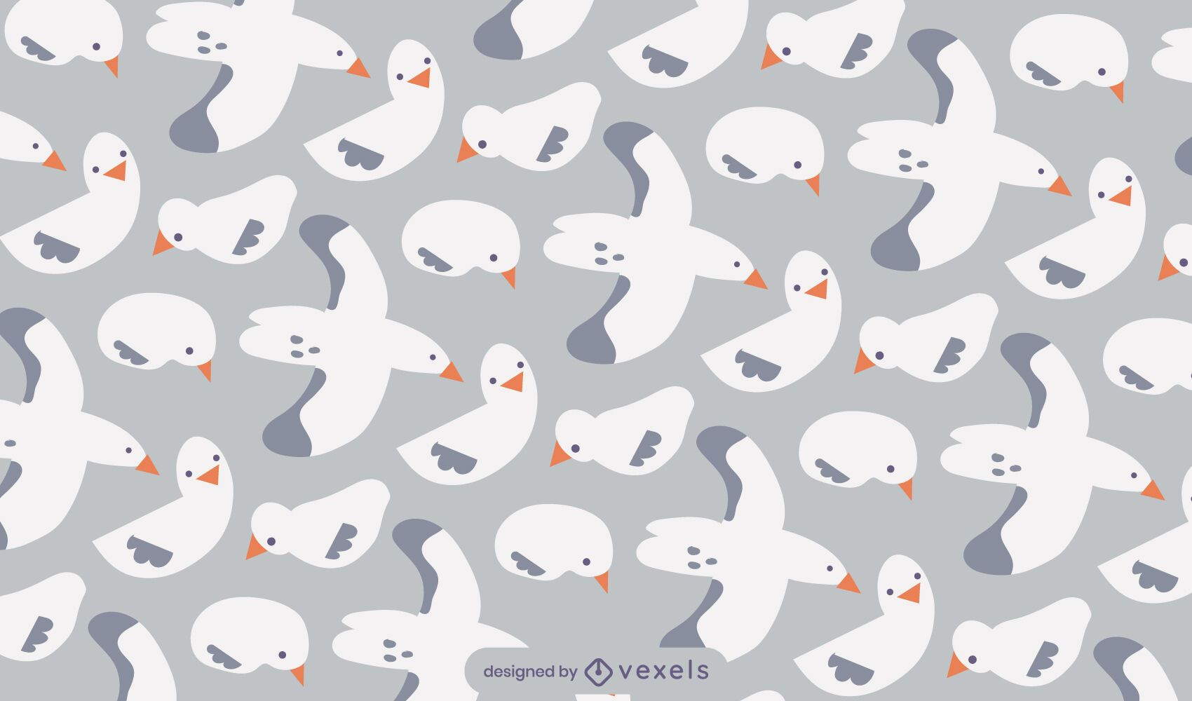 Desenho de padrão animal voador de pássaro gaivota