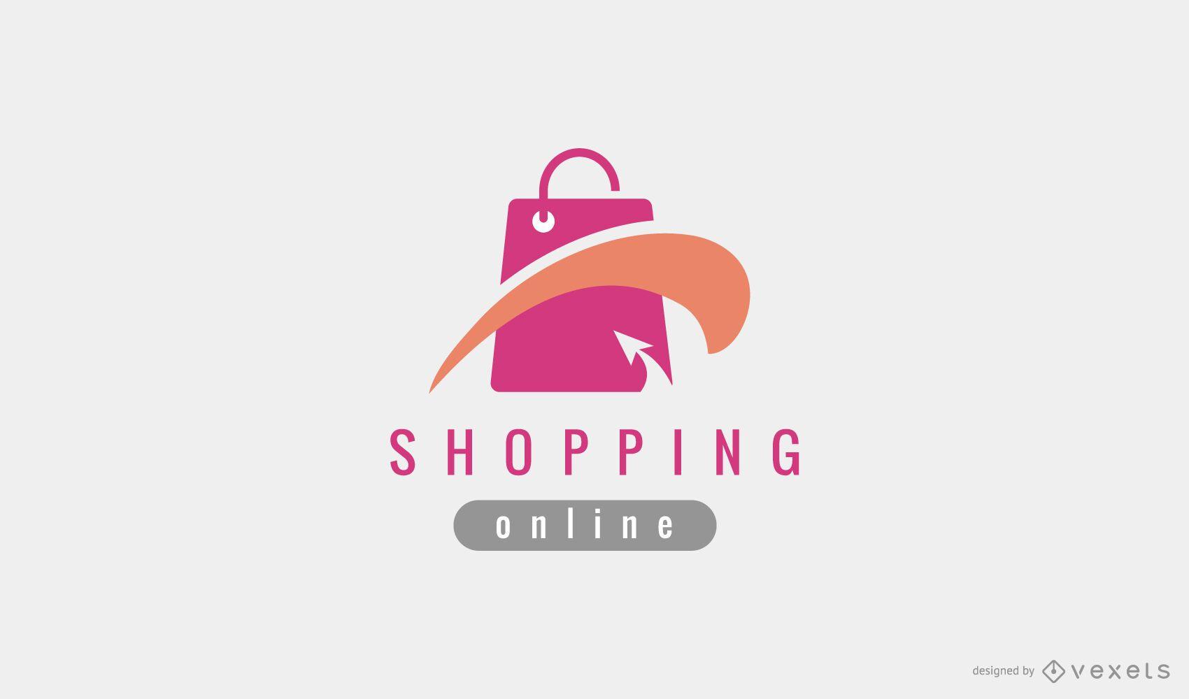 Logotipo editable de bolsa de compras en línea