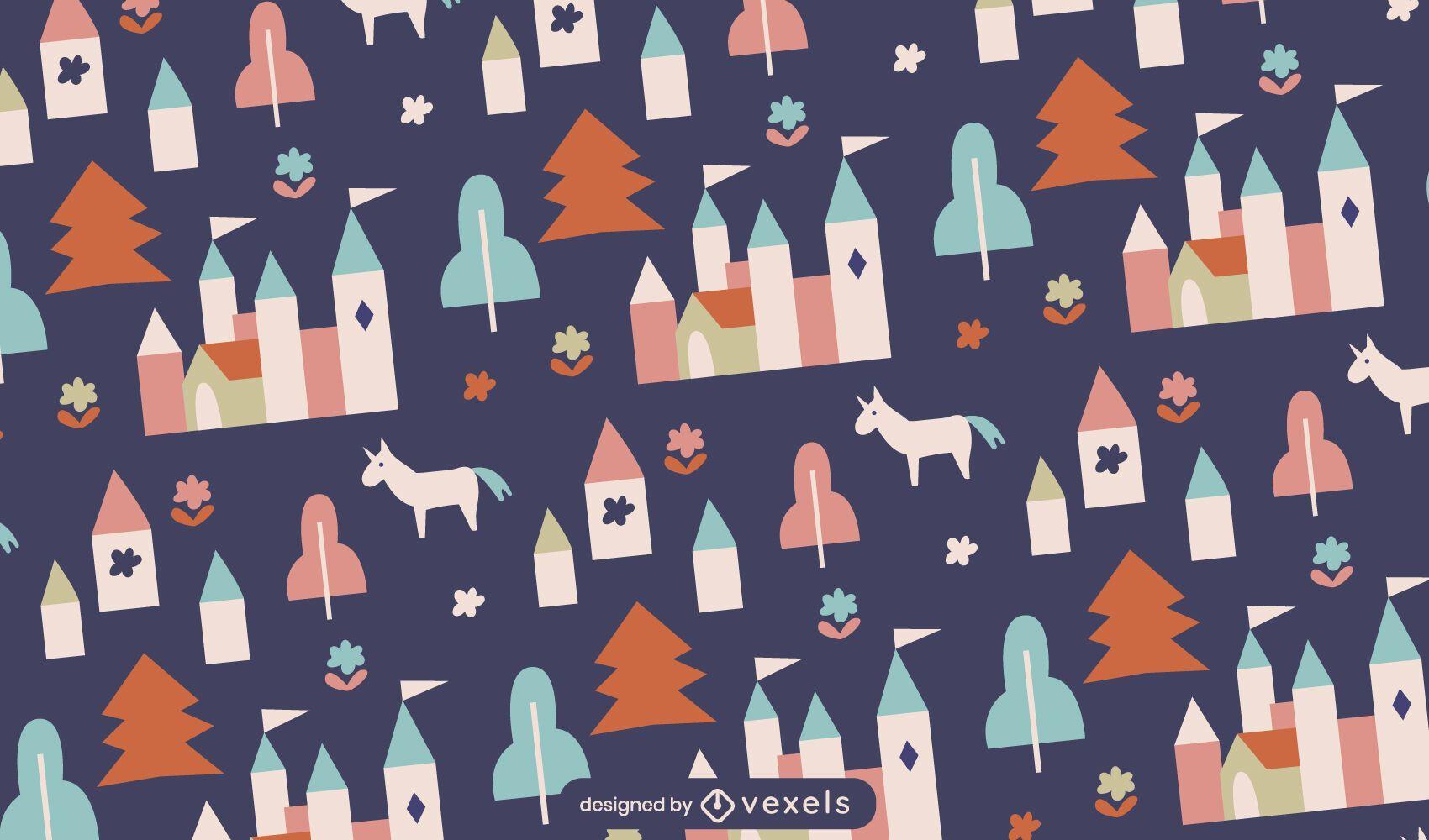 Diseño de patrón de fantasía de castillo de princesa