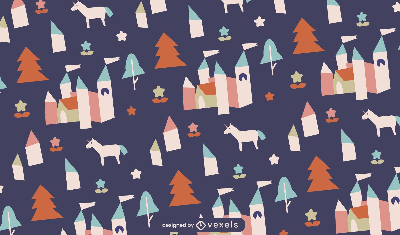 Princess castle fantasy pattern design