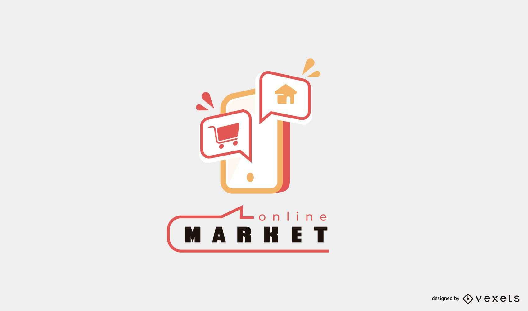 Diseño de logotipo de teléfono de mercado en línea