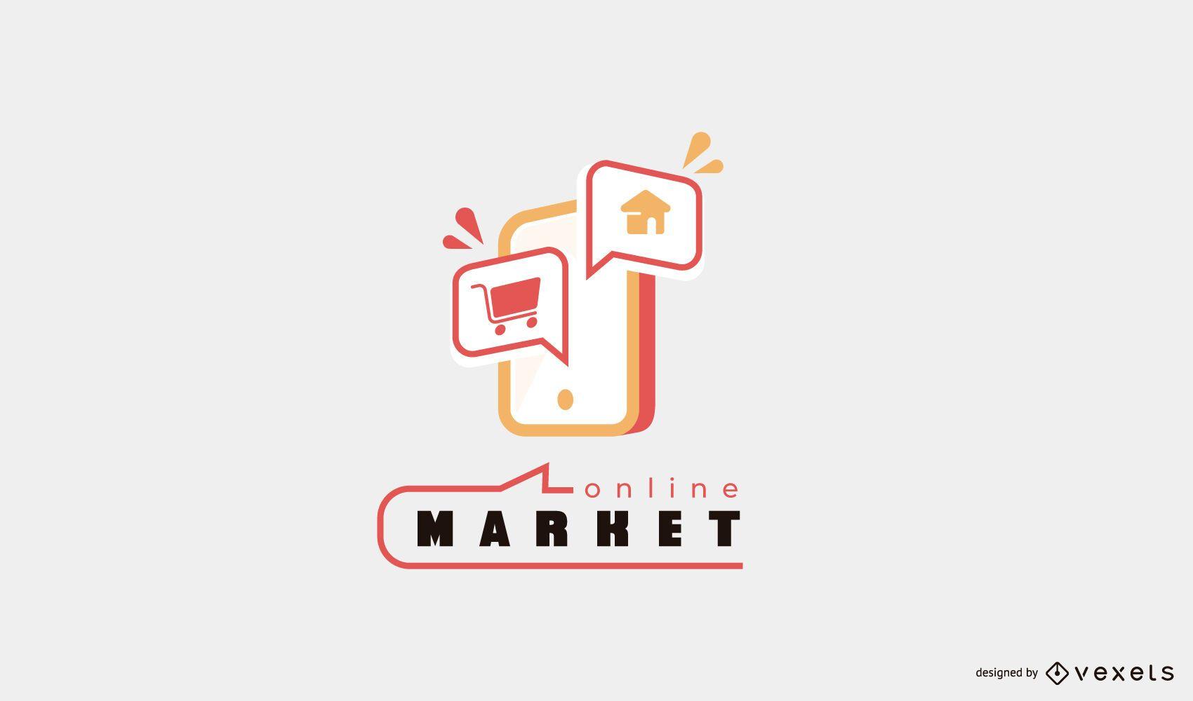 Online market phone logo design