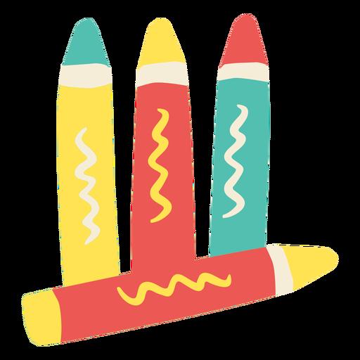 Set of crayons flat
