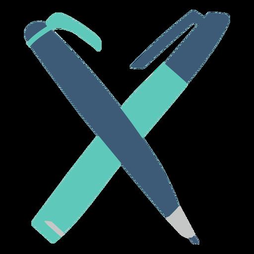 Blue pens flat