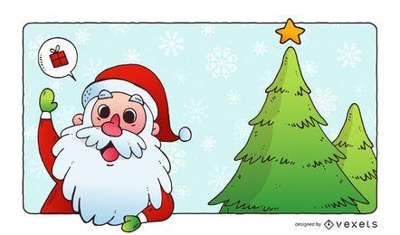 Arte de vetor de Natal e Papai Noel
