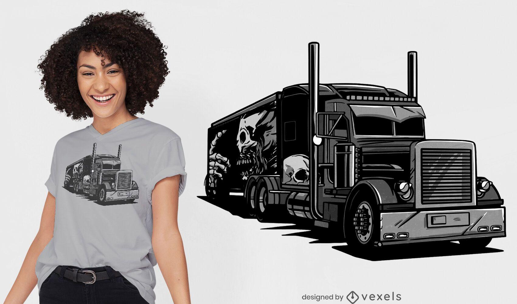 Diseño de camiseta de camión negro esqueleto de grunge