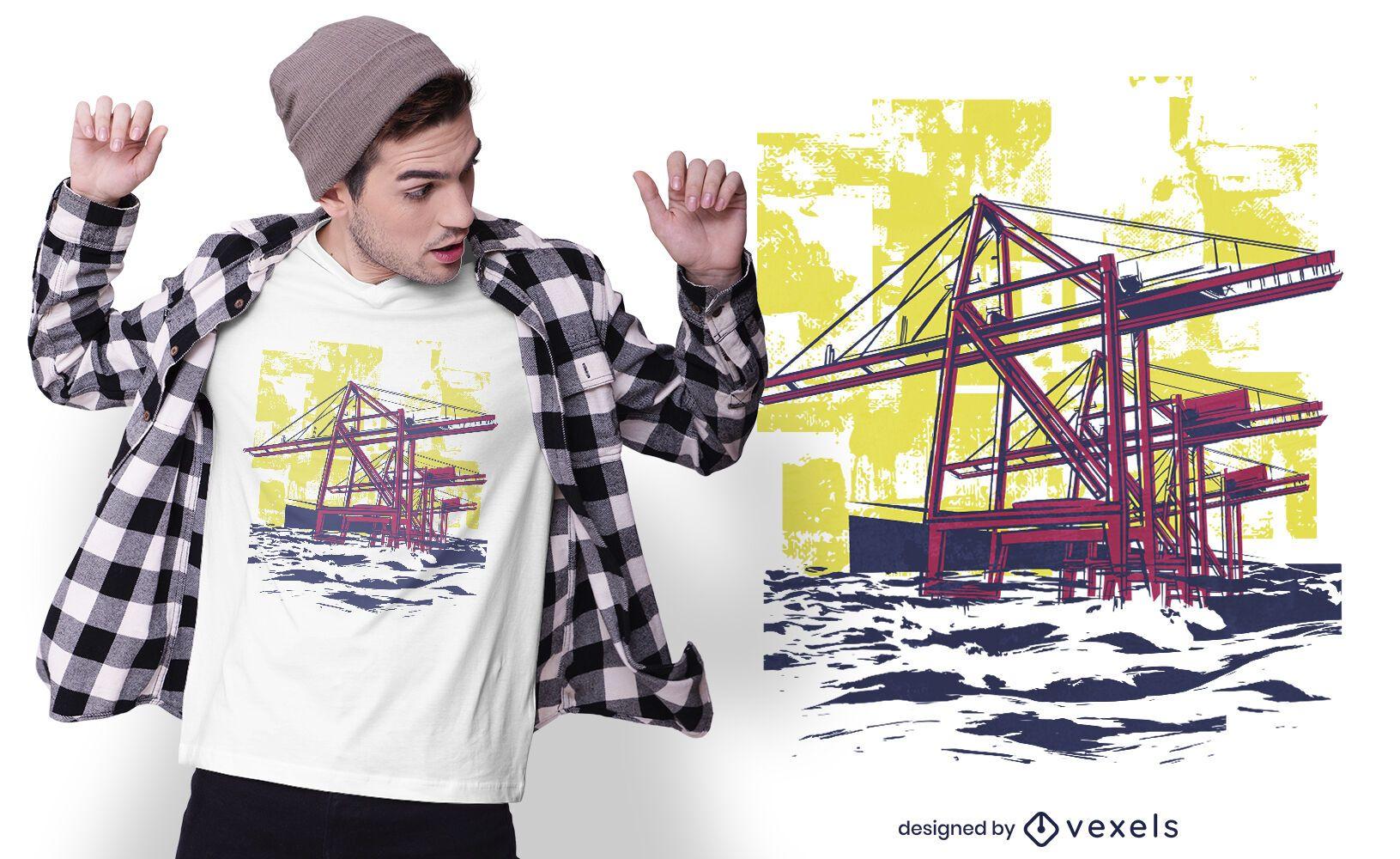 Diseño de camiseta de grúas de construcción.