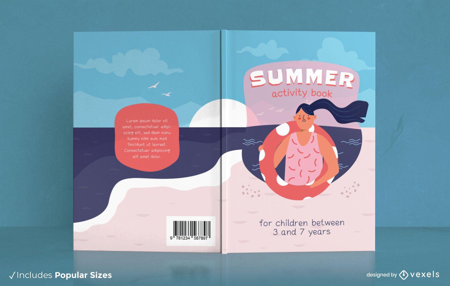 Diseño de portada de libro de actividades de playa de verano