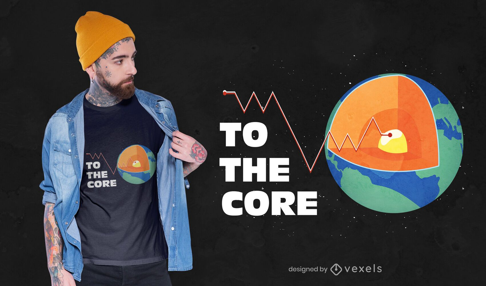 Earth core t-shirt design