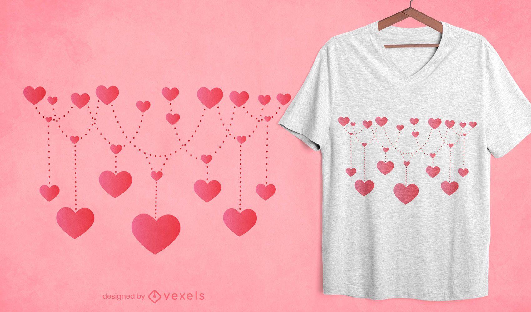 Diseño de camiseta de cadena de corazones