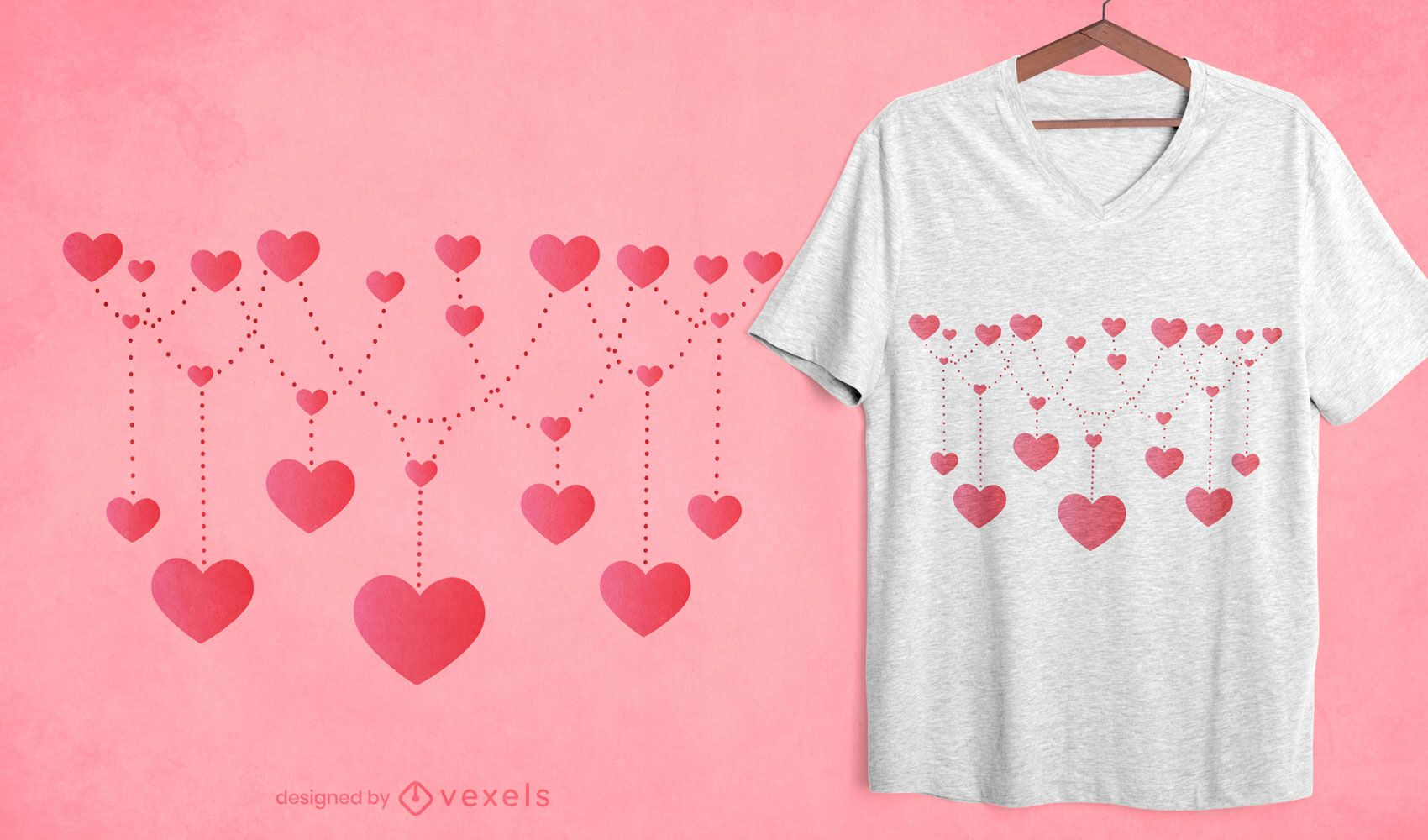 String of hearts t-shirt design