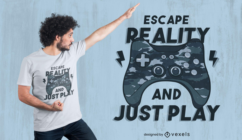 Diseño de camiseta de camuflaje con juego de joystick.