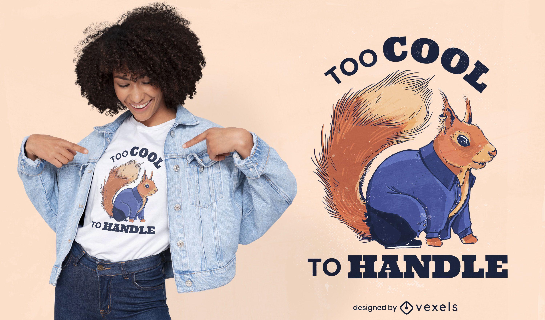 Diseño de camiseta de animal ardilla realista.