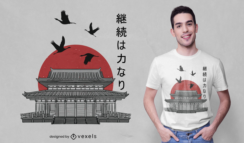 Diseño de camiseta de templo de estilo japonés.