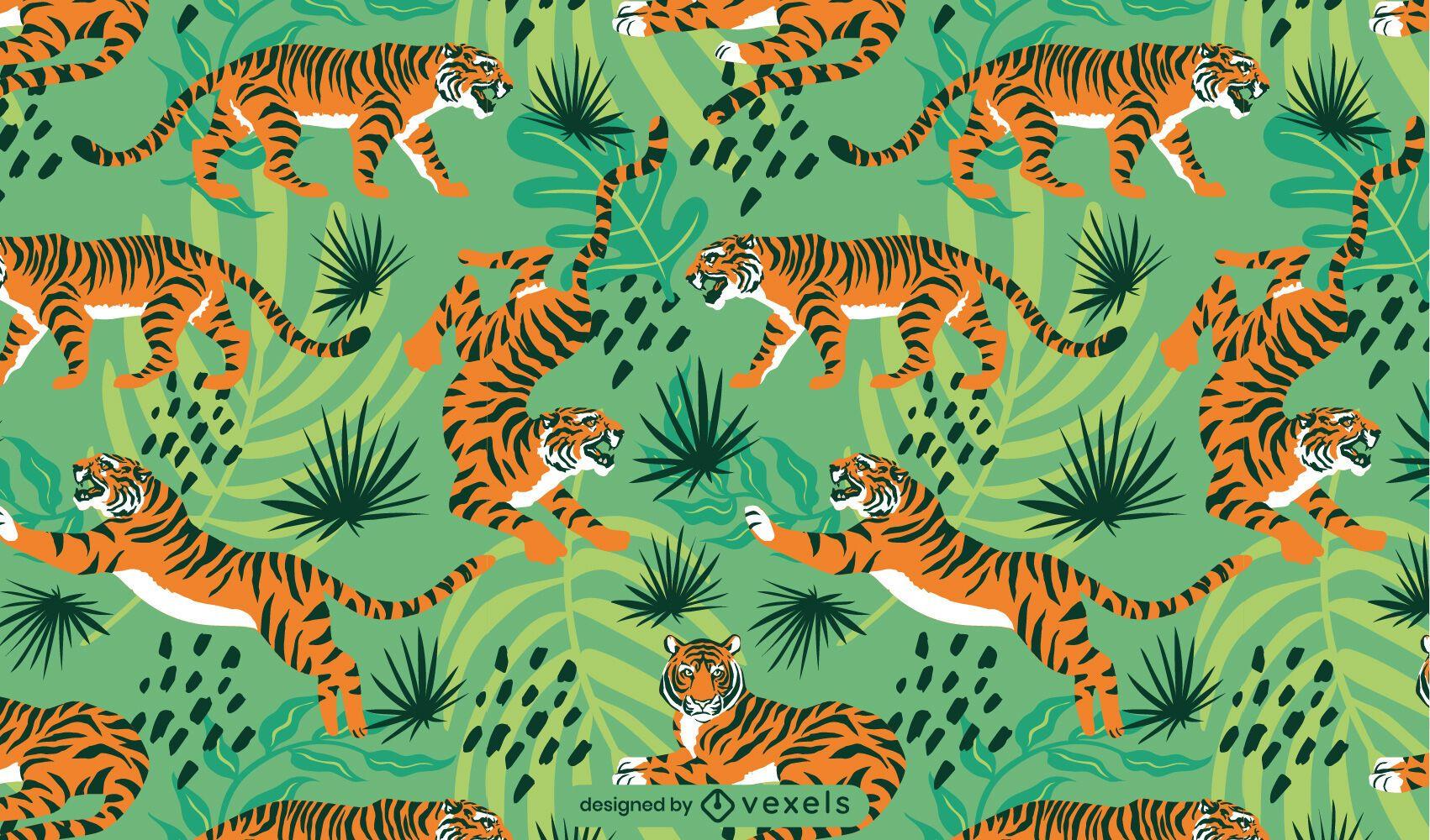 Diseño de patrón enlosable de tigre de la jungla