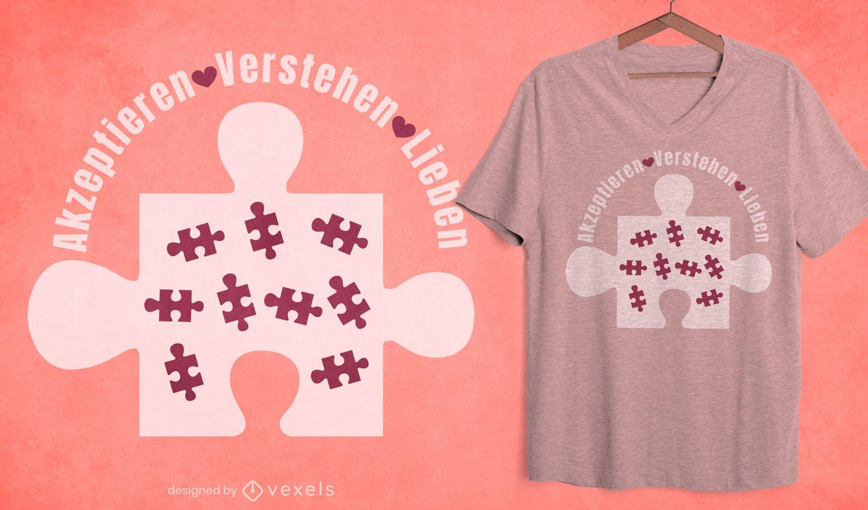 Peça de quebra-cabeça com design de camiseta alemã com autismo