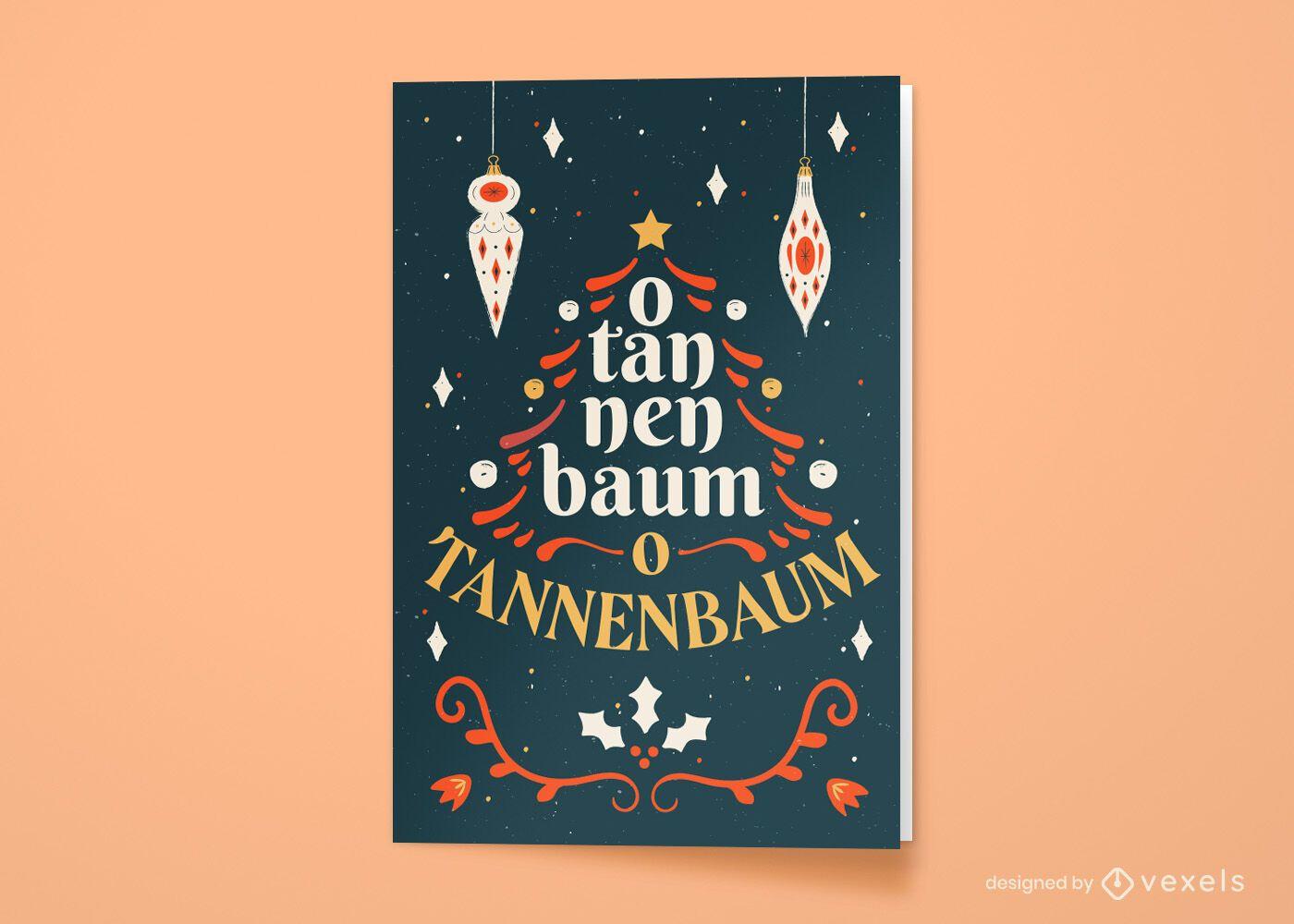 Design de cartão de saudação de árvore de natal