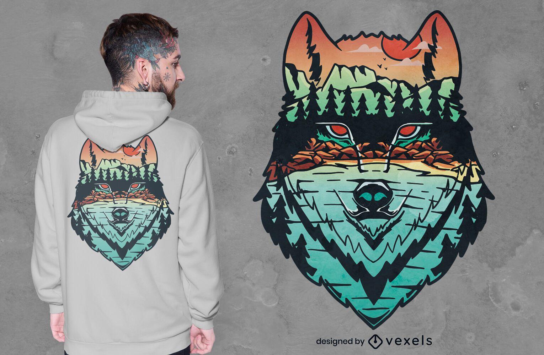 Dise?o de camiseta de lobo en el fondo del bosque