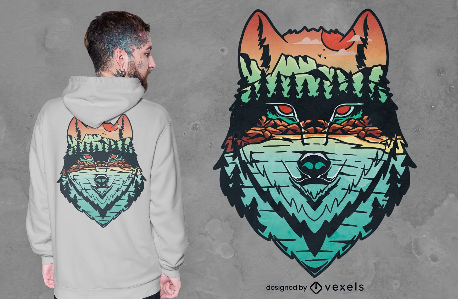 Wolf on forest background t-shirt design
