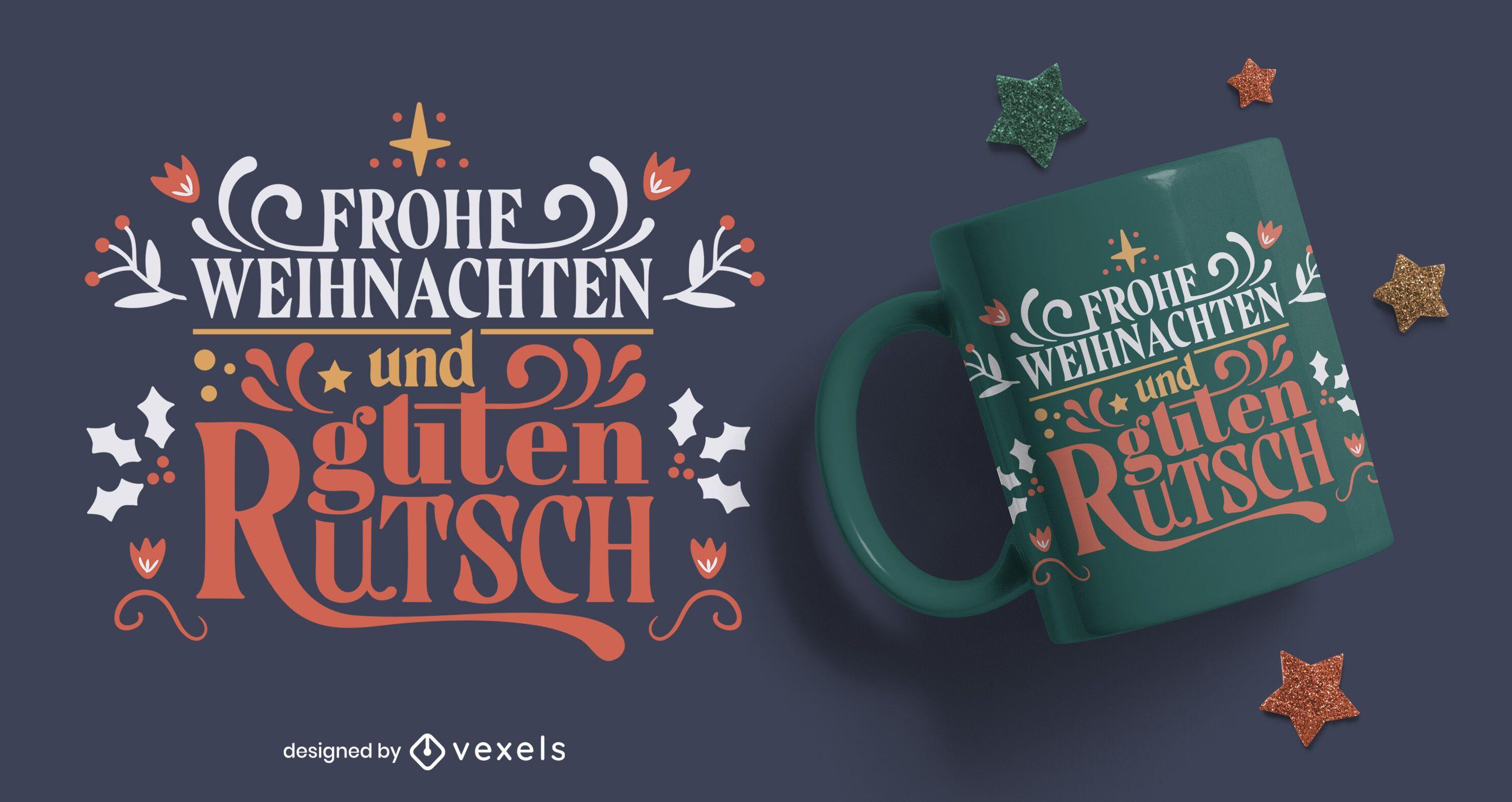 Diseño de taza de navidad y año nuevo alemán