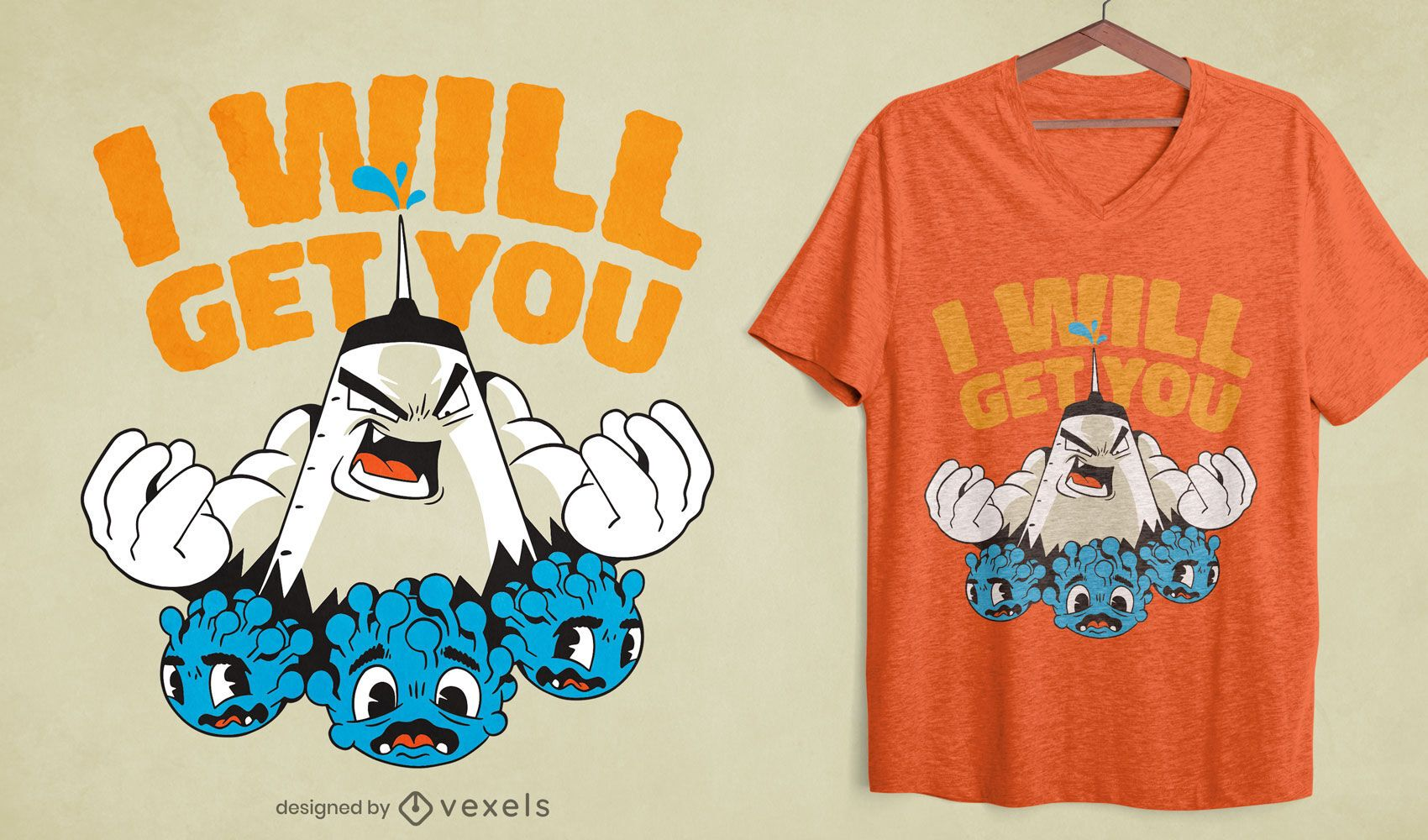Diseño de camiseta de dibujos animados de virus de vacuna