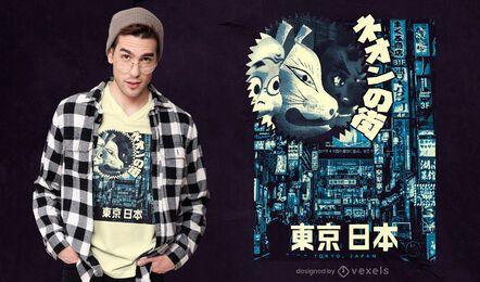 Ilustración de Tokio en diseño de camiseta en tonos azules.