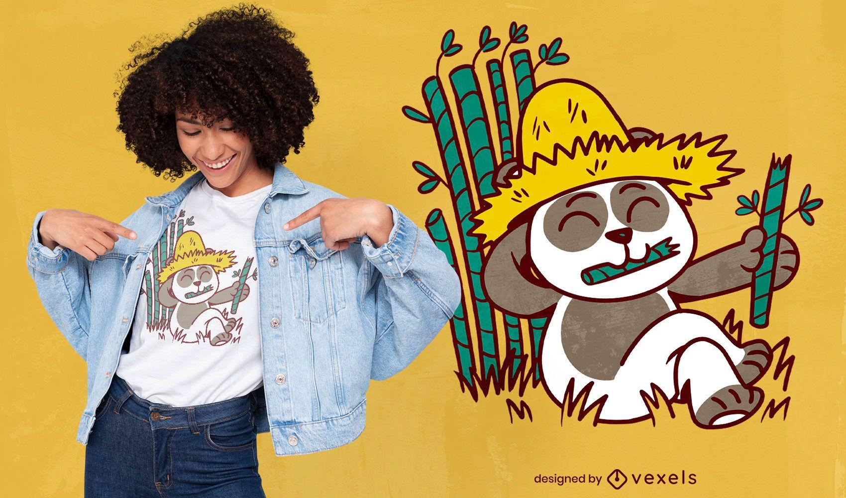 Panda farmer cartoon t-shirt design