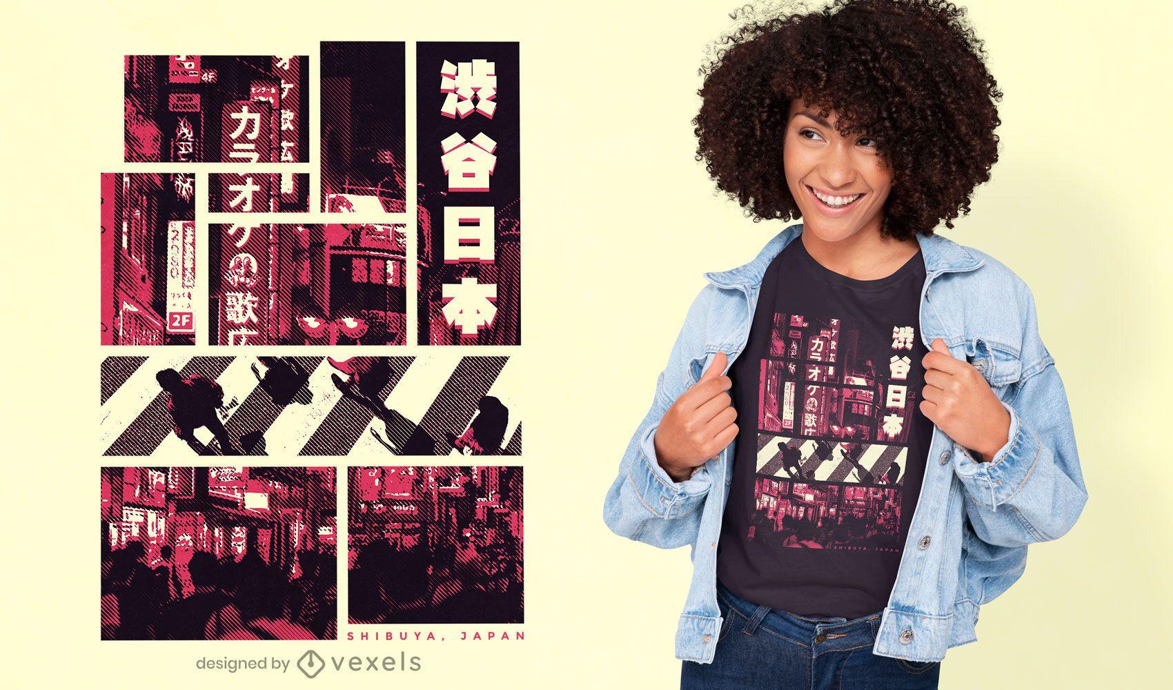 Dise?o de camiseta fotogr?fica rosa de tokio.